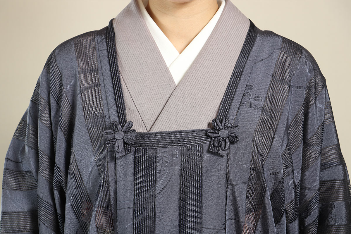 格子衿コート
