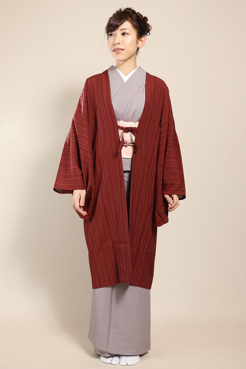 羽織コート米沢空羽織煉瓦色正面