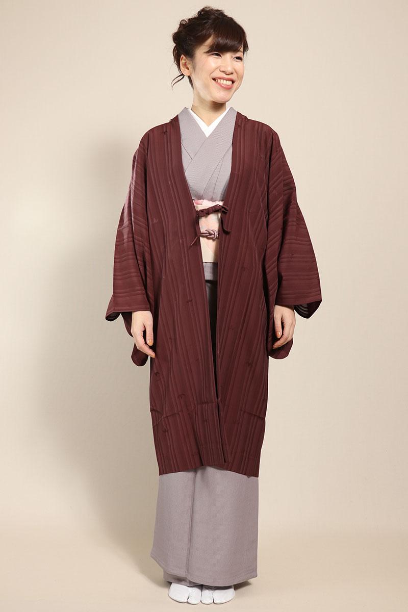 羽織コート米沢空羽織赤紫正面