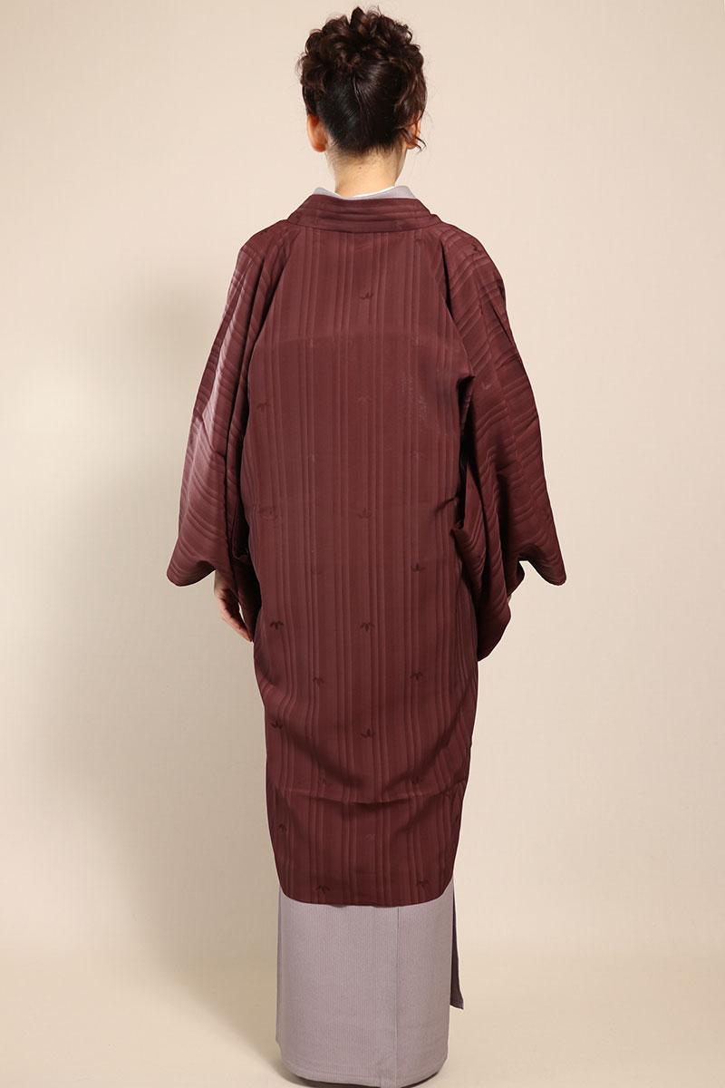 羽織コート米沢空羽織赤紫後ろ