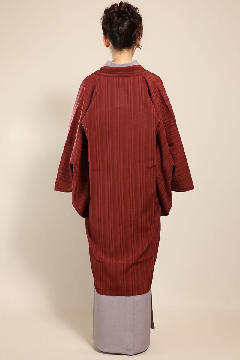 羽織コート米沢空羽織煉瓦色後ろ