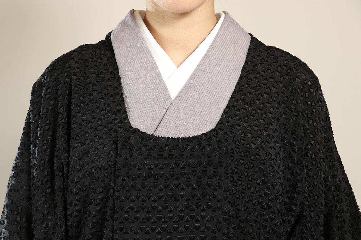 都衿コート墨の襟元