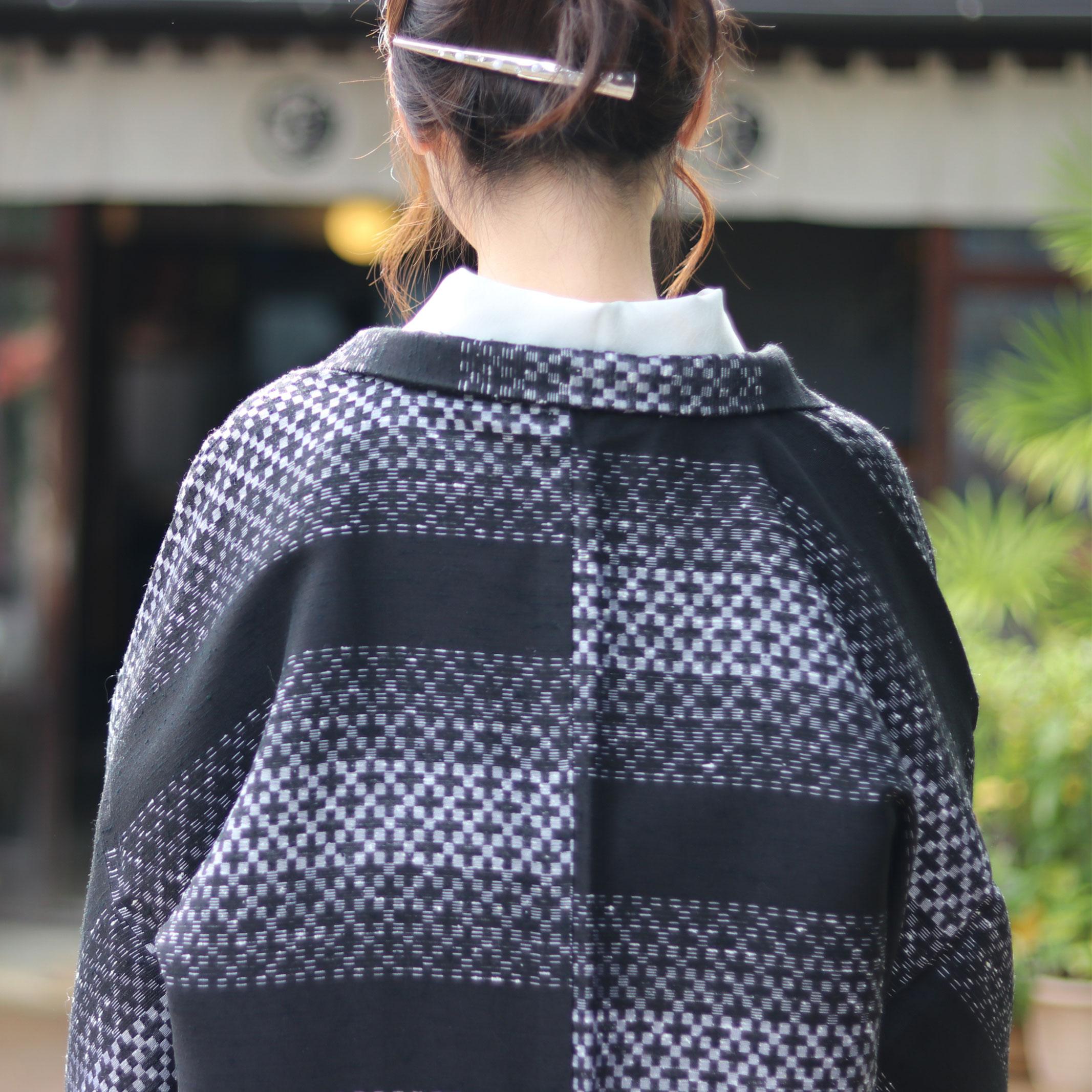 市松紬長羽織2