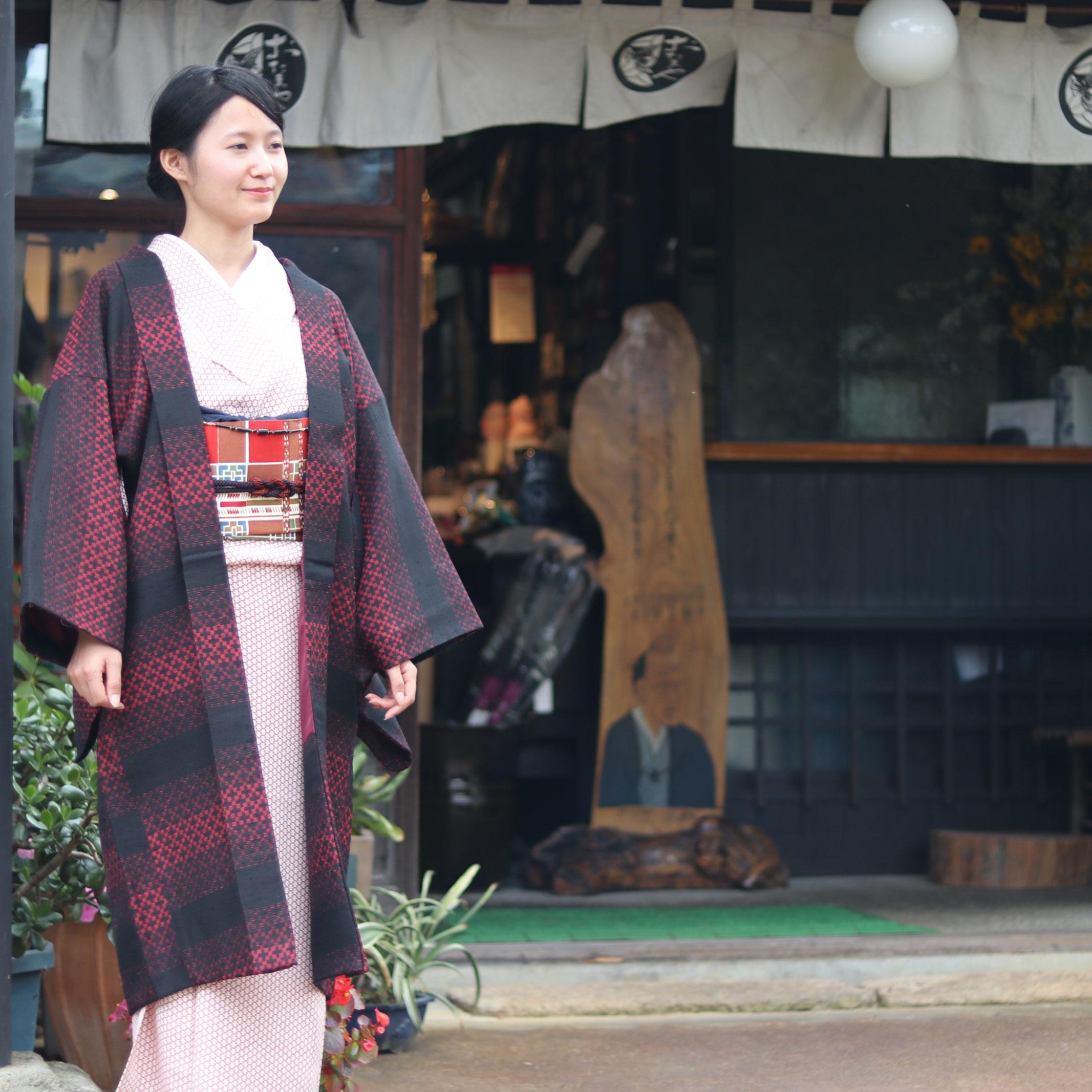 市松紬長羽織3